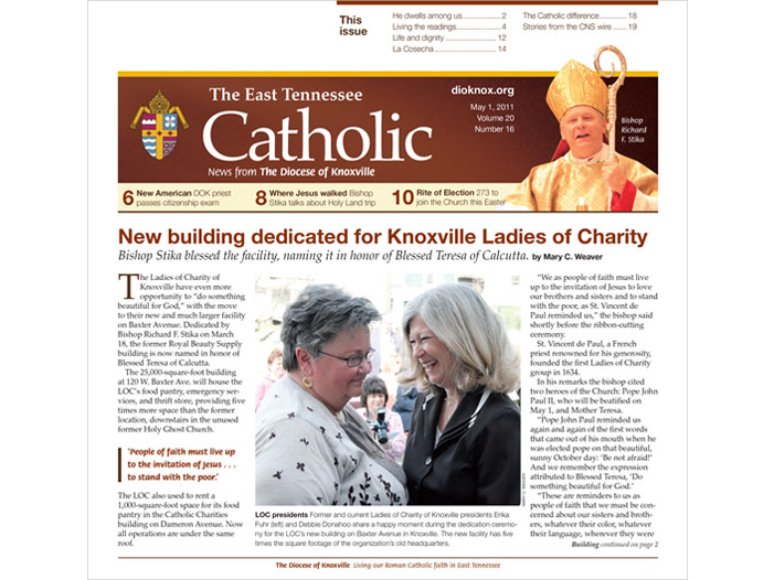 The East Tennessee Catholic newspaper design