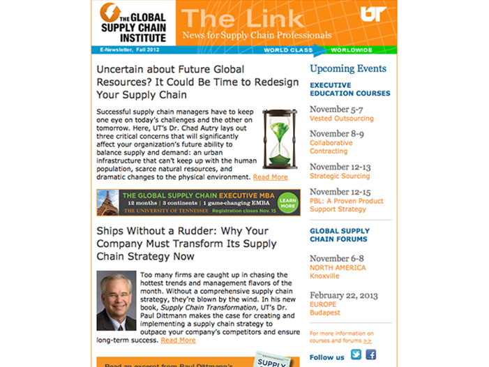 The Link eNewsletter for The Global Supply Chain Institute at the University of Tennessee